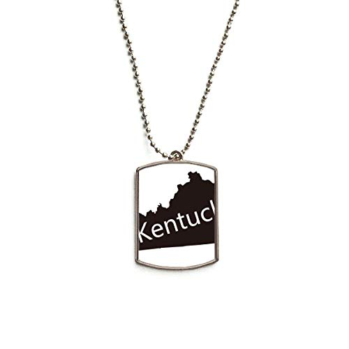 DIYthinker Kentucky America USA Map Silhouette Stainless Steel Dog Tag Pendant Necklace (Kentucky Silhouette)