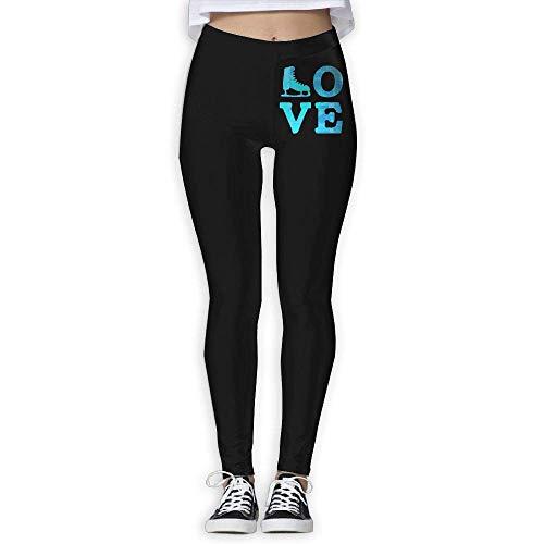 Love Ice Skating Women's Full-Length Pilates Leggings Wire-Free Pants XL -