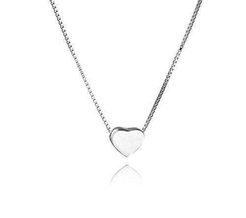 SLUYNZ Genuine 925 Sterling Silver Tiny Love Heart Pendant Necklace for Women Teen Girls Slender Tennis (Best Heart Necklaces For Teens Girls)