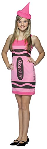 Crayola Crayon Tank Dress Teen/Junior Costume Tickle Me Pink - Teen - Crayola Crayon Costume Hat