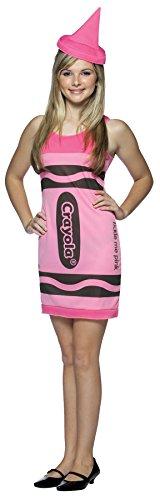 Tickle Me Pink Crayola Teen Costumes (Crayola Crayon Tank Dress Teen/Junior Costume Tickle Me Pink - Teen)