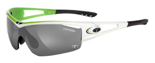 Tifosi Logic T-I855 Shield Sunglasses,Race Neon On White Frame/Smoke, All-condition Red & Clear Lens,One - Rac Sunglasses