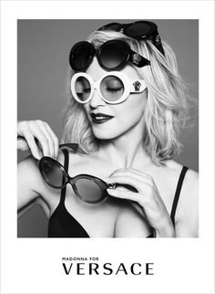 4a82d3e040d5 Amazon.com    PRINT AD   With Madonna For 2015 Versace Sunglasses   PRINT AD     Entertainment Collectibles