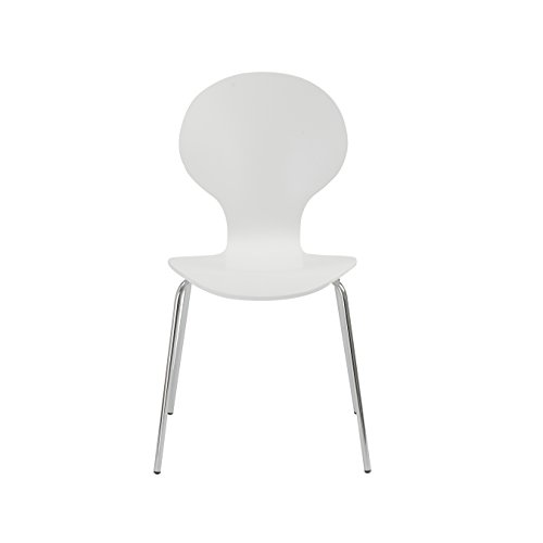 (Eurø Style Bunny Stacking Chair, Set of 4, White)
