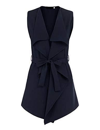 UAUNG Women's Semi-Formal Sleeveless Cardigan Draped Open Front Vest (Navy Blue,L)
