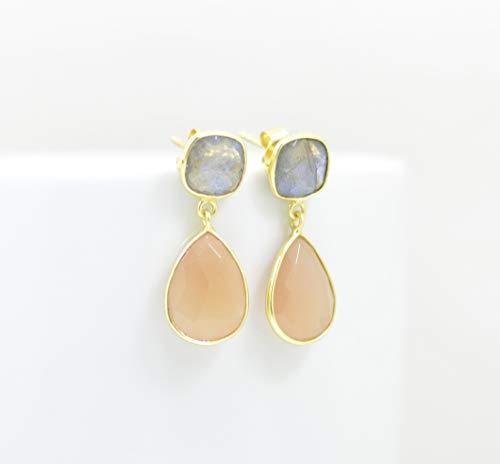 - Teardrop Peach Moonstone Gold Plated Earring Silver 925, Grey Multi Gemstone, Labradorite