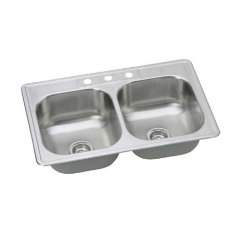 PROFLO PFSR332263 33'' Double Basin Drop In Stainless Steel Kitchen Sink with 3 Faucet Holes