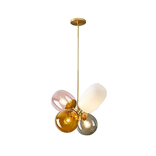 KY LEE 4 Lights Personality Simple Modern Glass Balloon Chandelier Color Decoration Restaurant Children's Room Bedroom Bedside Art Chandelier Light -