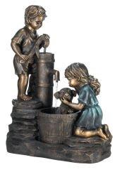 SKB Family Fountain Doggy Wash Water Children Outdoor Garden Fountains Decor Cascading Two Boy Girl Washing Doggy stone powder Resin
