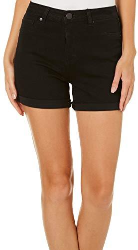 YMI Juniors Wannabettabutt Solid Roll Cuff Denim Shorts 9 Black ()
