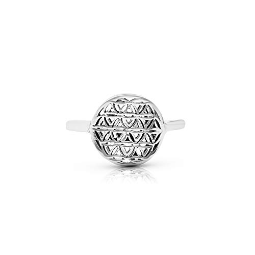 Flower of Life Ring Sterling Silver 925 Sacred Geometry Flower of Life Yoga Jewelry Sizes US 6 7 8 9 (6)