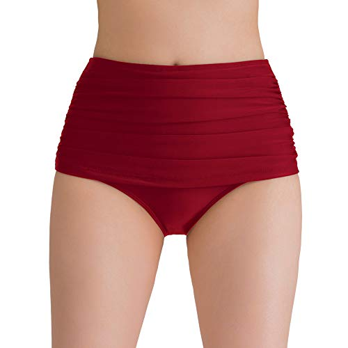 Red Brief Bikini - Women's High Waisted Swim Bottoms Vintage Shirred Bikini Tankini Swimsuit Briefs