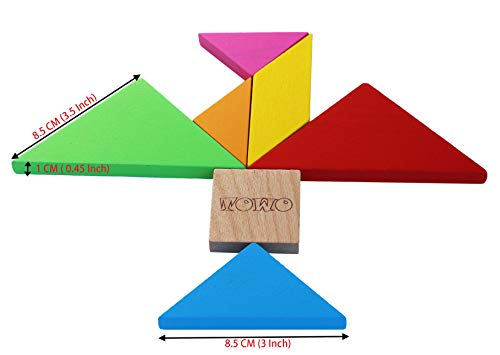 Toys of Wood Oxford Wooden Tangram Puzzles for Kids - Large Size with Colourful Box and Over 200 Patterns - Children Travel Games - Wooden Brain Teaser Puzzle for Children and Adults