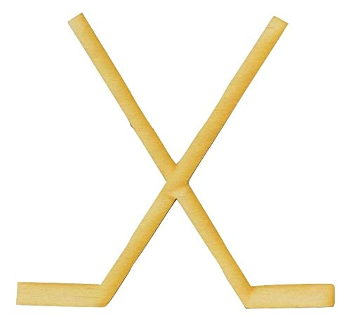 Wooden Crossed Hockey Sticks Cutout/Package of 10 ()