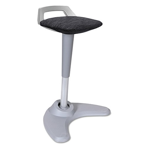 Alera ALEAE36PSBK AdaptivErgo Sit to Stand Perch Stool, Black with Silver Base