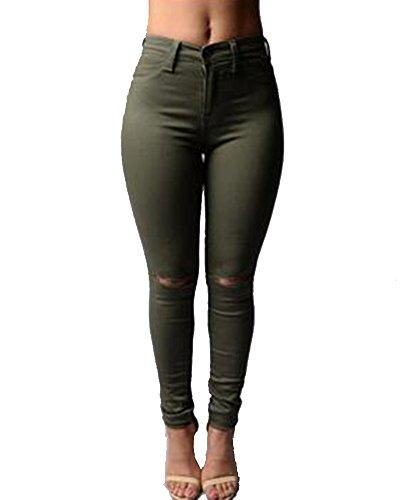 Mujer Alta Cintura Elástico Rodilla Skinny En La Rotos Verde Del Ejército Jeans Pantalones Vaqueros Leggings 00xnwd8rqg