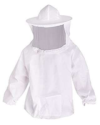 YiZYiF Professional Beekeeping Bee Keeping Pull Over Jacket Fencing Veil Hood Hat Smock Dress Protective Equipment with Zipper for Bee Keepers