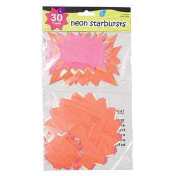 Starbursts Neon 30 Count 5 Sizes 5 Colors Paper, Case of 36 by DollarItemDirect