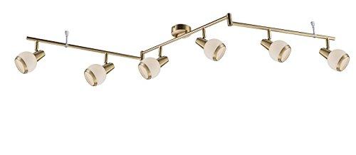 LED Deckenstrahler 6 Flammig Messing Decken Spot Deckenlampe Bewegliche Spots Strahler Flur Lampe Deckenleuchte