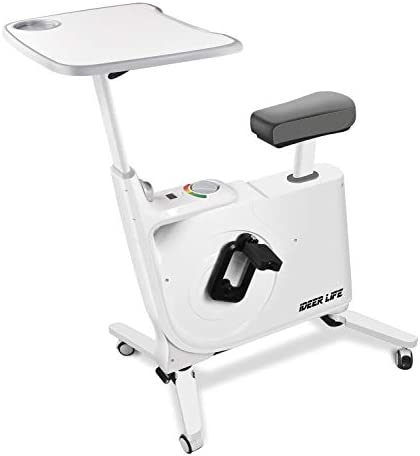 Exercise Bike Standing Indoor Cycling Bike,Home Office Standing Desk Exercise Bike with Pulse,8 Levels Fully Adjustable Magnetic Exercise Bike for Home Office Sport Workout.IDEER LIFE
