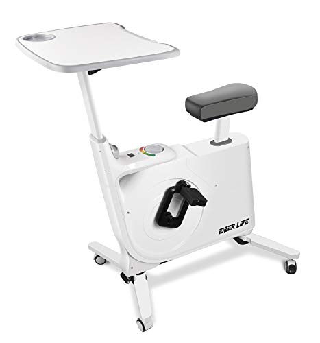 Exercise Bike Standing Indoor Cycling Bike,Home Office Standing Desk Exercise Bike with Pulse,8 Levels Fully Adjustable Magnetic Exercise Bike for Home Office Sport Workout.IDEER LIFE (White09019)