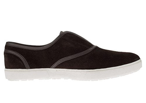 Gino Valentino Mens Chaussures En Cuir Alfonso Mode Sneaker Slip-on Marron