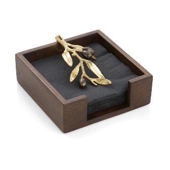- Michael Aram Olive Branch Gold Cocktail Napkin Holder