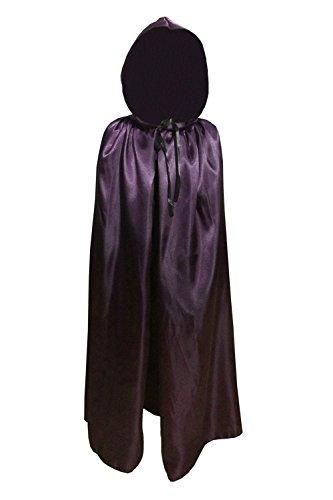 Dark Magician Girl Costumes (Children Kids Hood Cloak Costume Full Length Cape for Halloween Christmas Coaplay School Dress Up (100cm / 39.4inch, Purple))