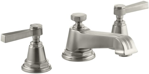 KOHLER K-13132-4B-BN Pinstripe Widespread Lavatory Faucet, Vibrant Brushed Nickel - Bn Pinstripe Handles
