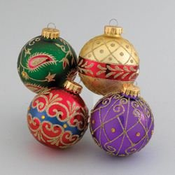 Kurt Adler Imperial Design Ball Ornament, 65mm, Set of 4 ()