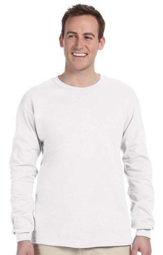 FoTL 4930 Mens Heavy Cotton Long-Sleeve Tee 3XL 1 White + 1 Gold