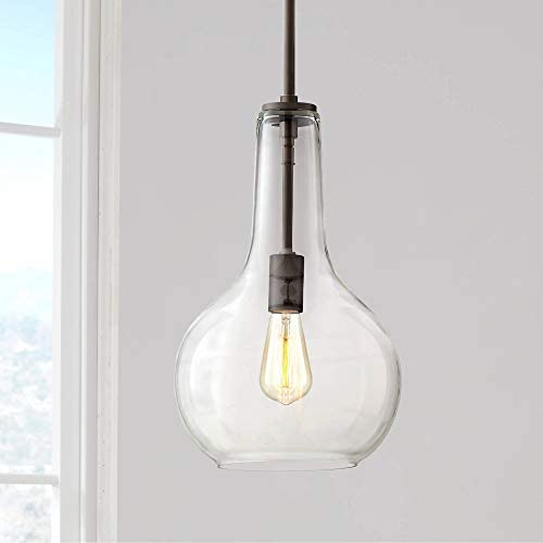 Hamlin Warm Bronze Mini Pendant Light 10″ Wide Modern Clear Glass Fixture