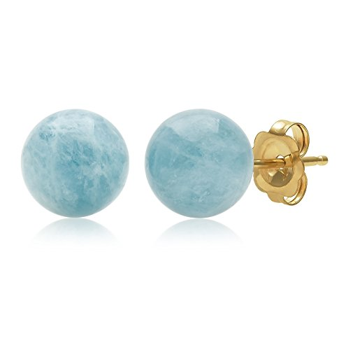 14k Genuine Aquamarine Earrings - 14K Yellow Gold 8mm Natural Milky Aquamarine Gemstone Round Blue Stud Earrings