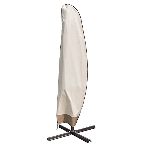 11' Umbrella Cover (Sundale Outdoor Heavy Duty Patio Offset Cantilever Umbrella Cover Parasol Cover for 9-14 ft Umbrella , Water Resistant, Beige)
