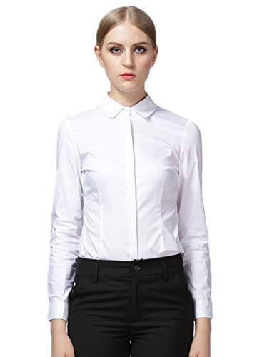 eed357fa Jual Soojun Womens Essential Long Sleeve Button Down Shirts Bodysuit ...