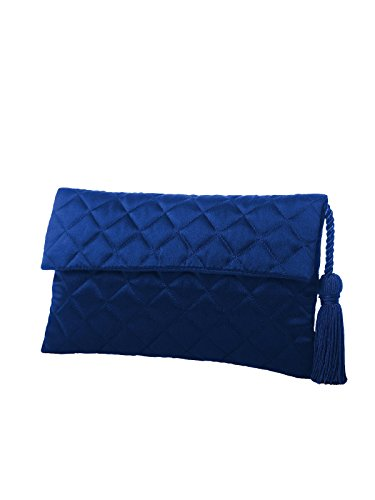 Envelope Sapphire Quilted by Matching Women's Detail Clutch with Dessy Tassel Purse S5nxw7x