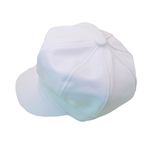 (Kennedy Fashion Unisex Solid Beret Hat Faux Leather Ivy Newsboy Cap White)