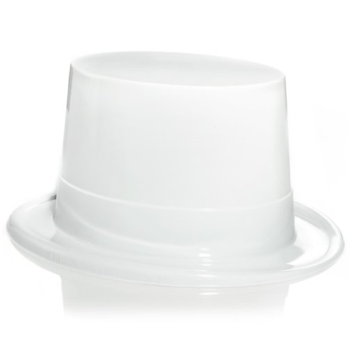 White Plastic Topper Party Accessory (1 count) (Hat Topper Plastic)