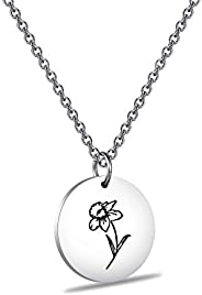 ENSIANTH Silver Birth Flower Pendant Necklace Flowers of The Month Gift Birthday Gift for Her