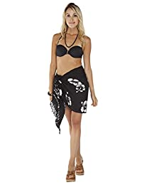 1 World Sarongs Womens Hibiscus Half Swimsuit Sarong in your choice of colors