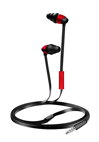 Coby CVE-116-RED Tangle Free Flat Cable Stereo Earbuds With Mic, Red