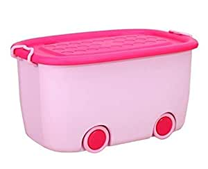 Stackable Toy Storage Box With Wheels, Pink