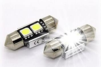 2 x 30 mm LED Festoon Interior Blanco Iluminación Interior Coche Interior Festón C5 W festón Soffite 5050 SMD chip (Blanco): Amazon.es: Coche y moto