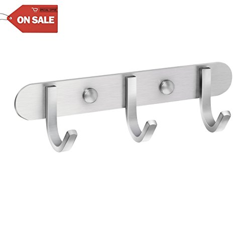 Coat Hook Rack Brushed Nickel - Sagmoc 8-Inch Coat&Towel Hook Rail Wall Mounted with 3 Hooks, Durable Wall Hangers for Bedroom, Bathroom, Foyer, Hallway (SUS304 Stainless Steel)