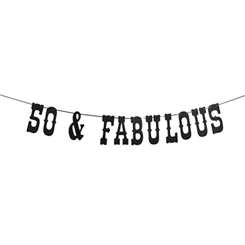 MaiCaiffe 50 & Fabulous Banner 50th Birthday Bunting 50th Wedding Anniversary Party Supplies Decoration - Cheers to 50 Years Bunting