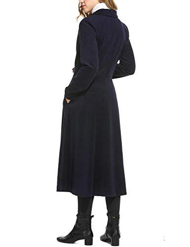 Giaccone Alta Fit Chic Invernali Double Vita Donna Slim Cappotti Bavero Moda Outerwear Calda Invernale Solidi Blau Ragazza Eleganti Parka Lunga Breasted Colori Manica TwaXPqx