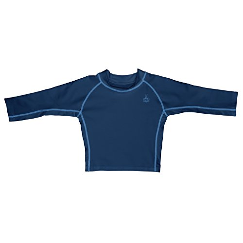 I play. Baby Long Sleeve Rashguard Shirt, Navy, 18 Months