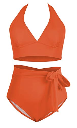 Wide-halter-strap neon orange