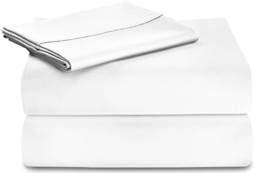 Premium Cotton Sheet Set (Twin, White) - 4 Piece Bedding Set, Flat Sheet, Fitted Sheet and 2 Pillow Cases - 100% Cotton Bed Sheet Set by Utopia Bedding