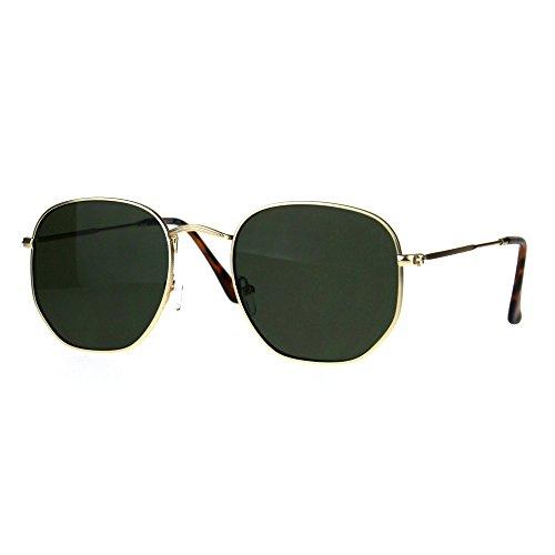 Classy Vintage Sunglasses Thin Metal Hexagon Shape Frame UV 400 Gold, - Glasses Frames Classy